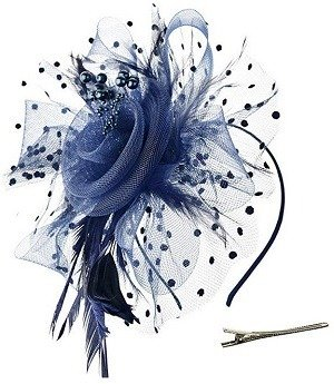 Navy Blue DRESHOW Fascinators Hat Flower Mesh Ribbons Feathers on a Headband and a Clip Tea Party Headwear for Girls and Women