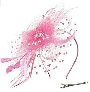 DRESHOW Light Pink Fascinators Hat Flower Mesh Ribbons Feathers on a Headband and a Clip Tea Party Headwear for Girls and Women