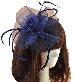 Women Navy Blue Fascinators Hair Clip Headband Hat Veil Flower Derby Cocktail Tea Party Church
