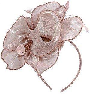 Light Pink Fascinators Hat Women Tea Party Flower Headband Kentucky Derby Hat Cocktail Flower Sinamay Mesh Feathers Hair Clip for Girls