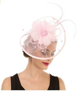 Lucky Leaf Pink Women Girl Fascinators Hair Clip Hairpin Hat Feather Cocktail Wedding Tea Party Hat