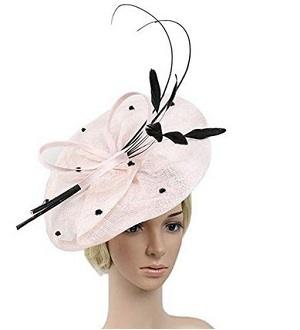 YSJOY Sinamay Feathers Floral Bow-knot Big Pink Fascinators Sun Protective Hat British Derby Hat Wedding Cocktail Church Kentucky Hat Pink
