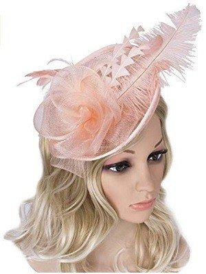 Vijiv Women Vintage Derby Pink Fascinator Hat Pillbox Headband Feather Cocktail Tea Party