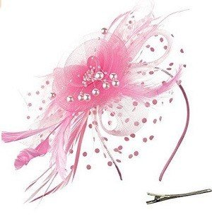 DRESHOW Pink Fascinators Hat Flower Mesh Ribbons Feathers on a Headband and a Clip Tea Party Headwear for Girls and Women