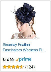 Sinamay Feather Navy Blue Fascinators Womens Pillbox Flower Derby Hat for Cocktail Ball Wedding Church Tea Party
