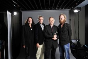 (Left to right) Dave Kilminster, Graham Broad, Snowy White & Harry Waters accepting the award for the Event Of The Year 'The Wall Live Tour' at the Classic Rock Roll Of Honour recently. (Pic thanks to Ellie)