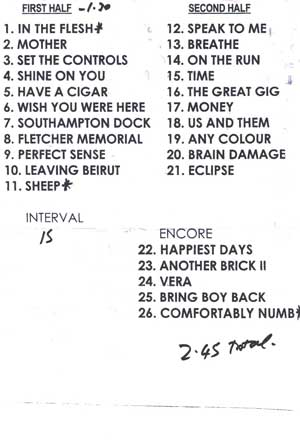 The actual set list as used by Roger. With thanks to Torsten