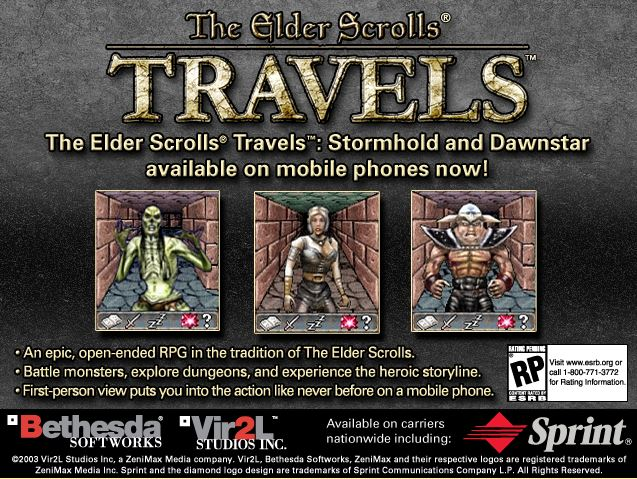 "A screenshot of an advertisement for ""The Elder Scrolls Travels"""