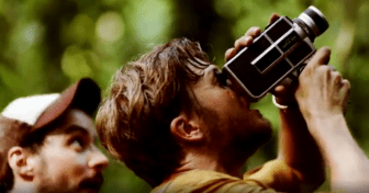 Dr Timothy Darrow filming birds.