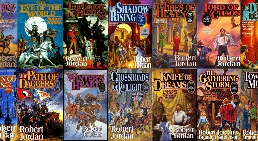 Wheel of Time series book covers.