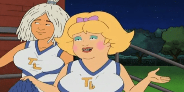 Bobby Hill as a powder puff cheerleader in Season 12 Episode 3.