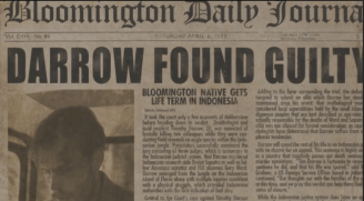A fake clipping of an American newspaper claiming Dr Timothy Darrow is guilty.