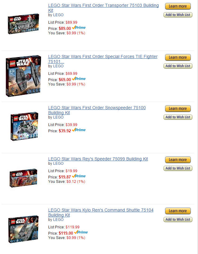 Image of Star Wars Lego set prices.