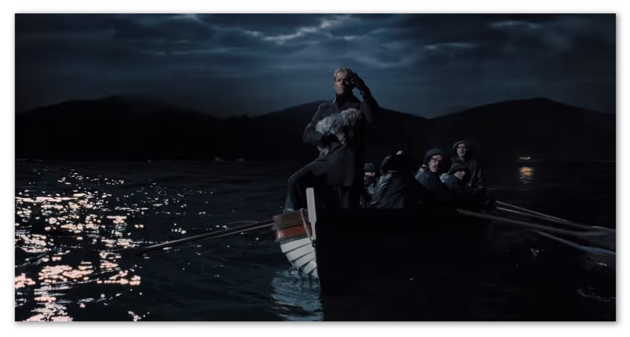 Channing Tatum as the communist actor Burt Gurney being rowed out to a Russian submarine off the coast of Malibu.
