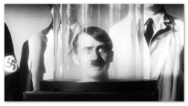 An image of Hitlers Brain in a jar from the film They Saved Hitler's Brain