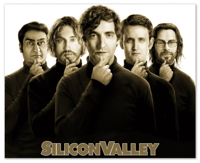 Image of the cast of Silicon Valley with text 'Silicon Valley' under them.