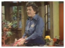 Image of Julia Child dropping dough science on us viewers while making croissants.