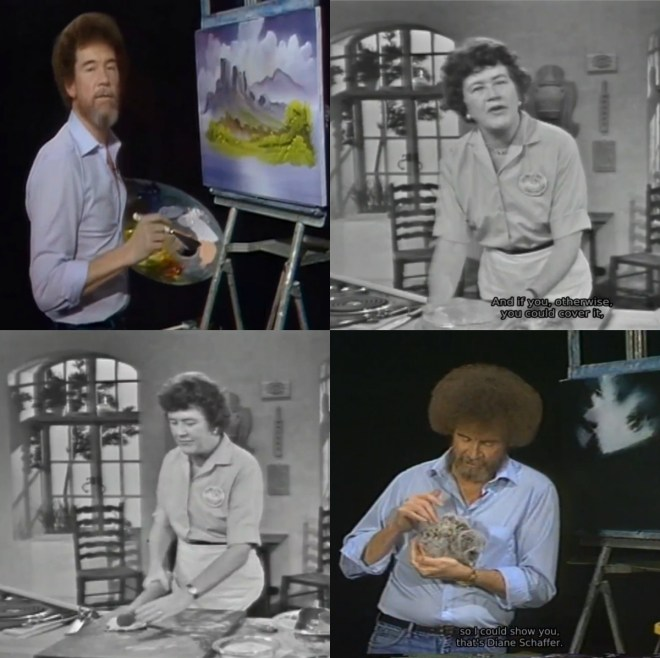 "A collage of images of Julia Child and Bob Ross taken from their shows 'The Joy of Painting' and ""The French Chef""."
