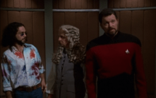 Riker and gang during Q's asylum hearing (Star Trek Voyager, Death Wish, S2 E18)