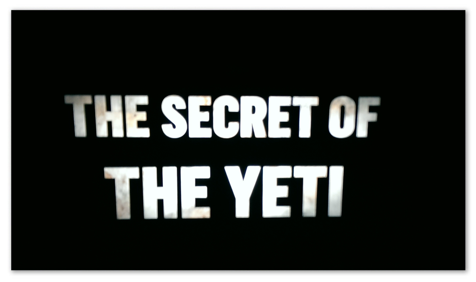 """Image of a black background with white text """"The Secret of the Yeti"""""""