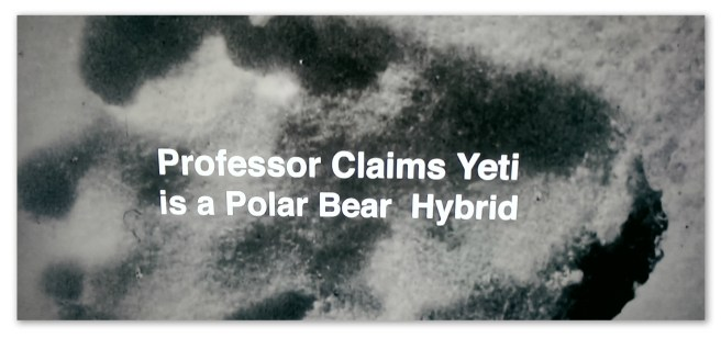"Image of a footprint with text ""Professor claims yeti is a polar bear hybrid"""