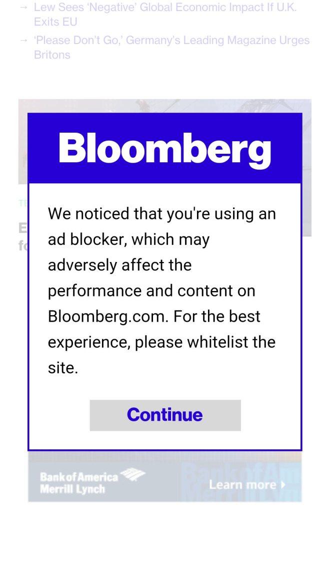 A screenshot of a Bloomberg popup