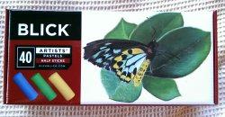 The front of Dick Blick's 40 piece half stick soft pastel set.