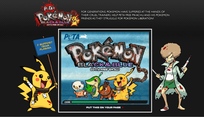 A screen capture of PETA's Pokemon Parody game webpage