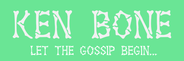 "Light green colored banner with text ""Ken Bone. Let the gossip begin."""
