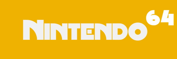 "Yellow colored banner with text ""Nintendo 64"""