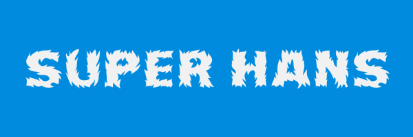 "Blue colored banner with text ""Super Hans"""