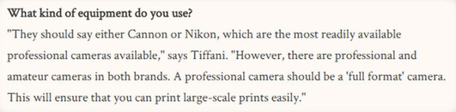 A screenshot of a Brides Magazine article stating that a wedding photographer should only use a full frame Canon of Nikon branded camera.