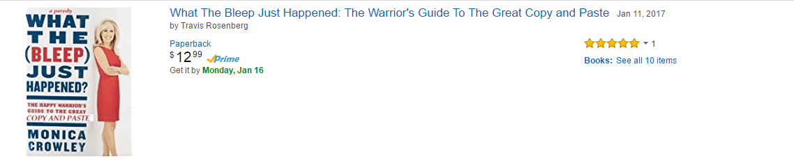 Screenshot of the new results on Amazon when you search for Monica Crowley's book.