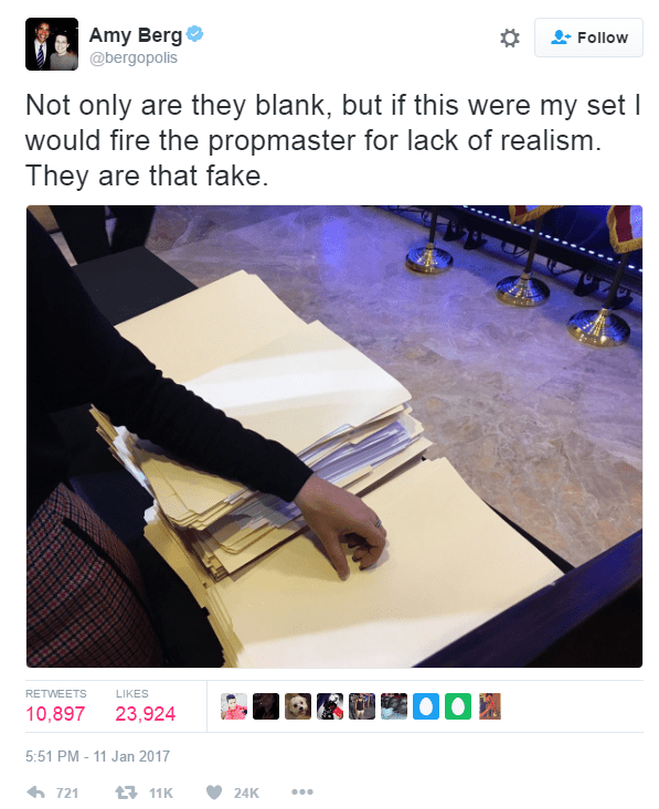 A screenshot Amy Berg's tweet about the props used at Donald Trump's press conference. Text of tweet reads as follows: Not only are they blank, but if this were my set I would fire the propmaster for lack of realism. They are that fake.
