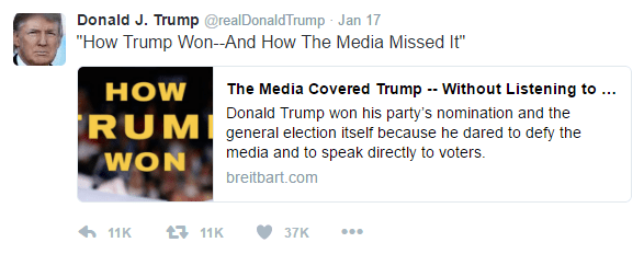 "Donald Trump's tweet advertising a Breitbart article. Text as follows: ""How Trump Won--And How The Media Missed It"""