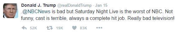 Text of Donald Trump's tweet reads as follows: .@NBCNews is bad but Saturday Night Live is the worst of NBC. Not funny, cast is terrible, always a complete hit job. Really bad television!