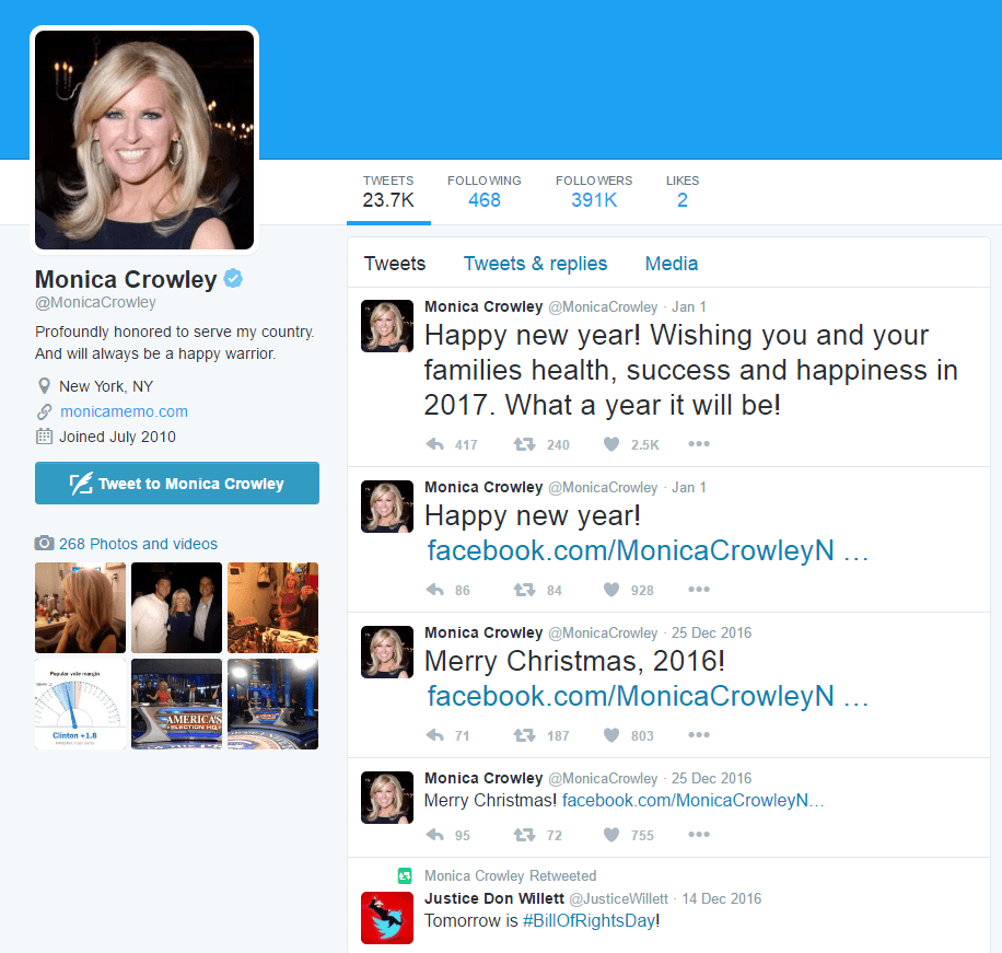 A screenshot of Monica Crowley's twitter