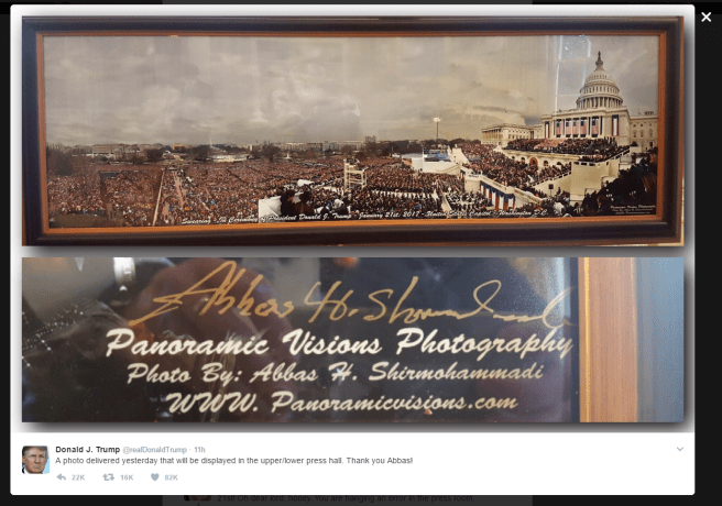 Panoramic image of Trump's swearing in ceremony crowd with text of Trump's tweet as follows: A photo delivered yesterday that will be displayed in the upper/lower press hall. Thank you Abbas!