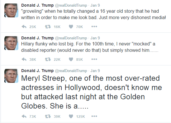 "The text of Trump's three threaded tweets is as follows: Meryl Streep, one of the most over-rated actresses in Hollywood, doesn't know me but attacked last night at the Golden Globes. She is a..... Hillary flunky who lost big. For the 100th time, I never ""mocked"" a disabled reporter (would never do that) but simply showed him....... ""groveling"" when he totally changed a 16 year old story that he had written in order to make me look bad. Just more very dishonest media!"