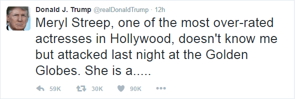 Trump's tweet after Meryl Streep mentioned him in her awards speech. Text as follows: Meryl Streep, one of the most over-rated actresses in Hollywood, doesn't know me but attacked last night at the Golden Globes. She is a.....
