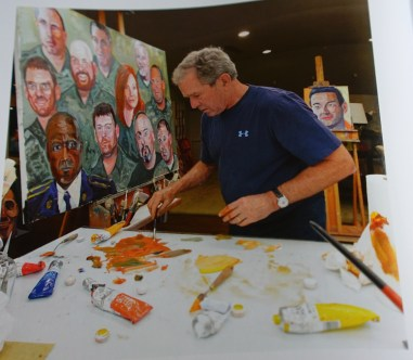 George Bush painting with Winsor & Newton Winton oil colors.