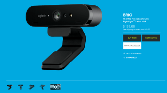 A screenshot of Logitech's Brio webcam sales page.