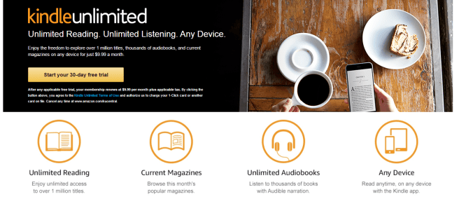 A screenshot of Amazon's Kindle Unlimited sales page.