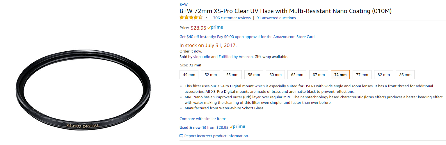 The same filter at Amazon. Notice the price distance and how hard it is to see that you are *not* buying the filter from Amazon.