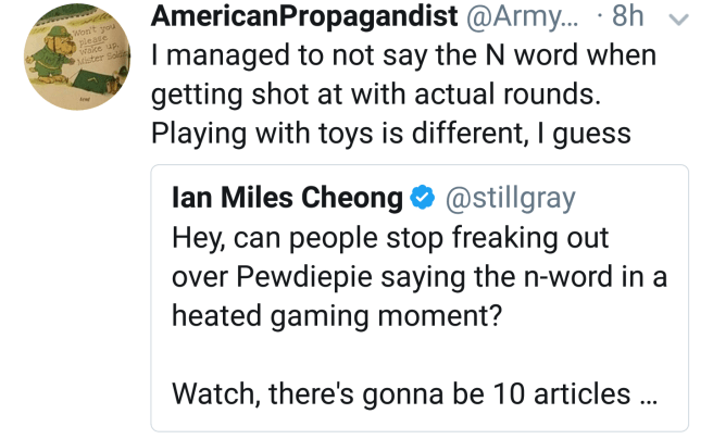 """@ArmyStrang: """"I managed to not say the N word when getting shot at with actual rounds. Playing with toys is different, I guess"""""""