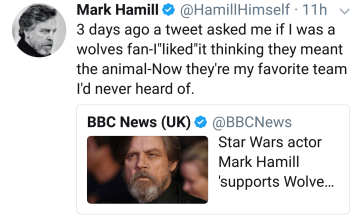 """""""3 days ago a tweet asked me if I was a wolves fan-I""""liked""""it thinking they meant the animal-Now they're my favorite team I'd never heard of."""""""