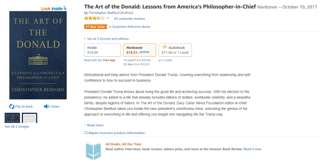 Screenshot of the Amazon listing for the Art of the Donald