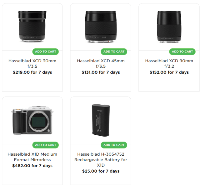 Lensrentals.com's pricing for Hasselblad lenses and camera. Hasselblad X1D costs $482 for 7 days.