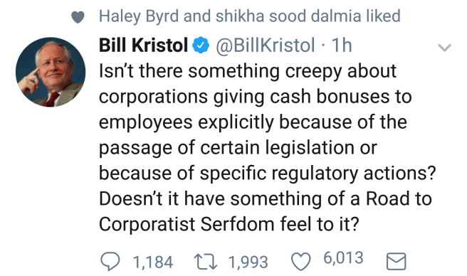 """Isn't there something creepy about corporations giving cash bonuses to employees explicitly because of the passage of certain legislation or because of specific regulatory actions? Doesn't it have something of a Road to Corporatist Serfdom feel to it?"""