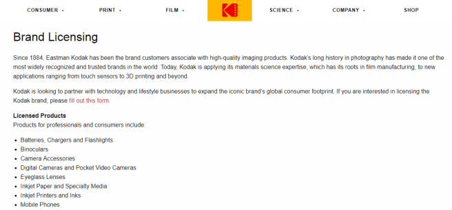 a screenshot of Kodak's brand licensing page...